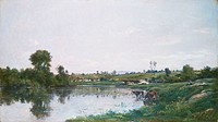 fine arts, Daubigny, Charles-Francois, 1817 - 1878, painting, ´landscape´, 1872, private collection, Augsburg, historic, historical, Europe, France, 1...