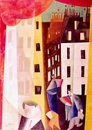 SF Kunst, Feininger, Lyonel (17.7.1871 - 13.1.1956), Gemälde ´Architektur II´ 1921 (Der Mann von Fotin) KÜNSTLERRECHTE BEI VG-BILDKUNST !!! futurismus...