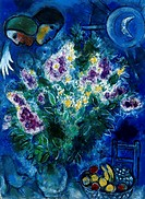 fine arts, Chagall, Marc, 1887 - 1985, painting, ´Les matthioles´, ´the gillyflowers´, 1949, gouache and watercolour, 78,5 cm x 57,5 cm, von der Heydt...