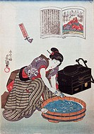 fine arts, Kuniyoshi, Utagawa, 1798 - 1861, graphics, ´woman washing in tub´, early 19th century, colour woodcut, 37 cm x 25,5 cm, private collection,...