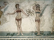 fine arts, ancient world, Roman Empire, mosaic, women in ´bikini´, 3rd/4th century AD, Villa del Casale, Piazza Amerina, Sicily, Italy, people, fashio...
