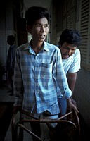 MEDICINE CAMBODIA<BR>Photo essay from hospital.<BR>Victim of an antipersonnel land mine, Cambodia.