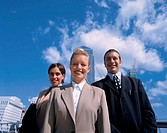 low angle view of a group of business executives walking outdoors