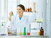 female scientist holding a test tube