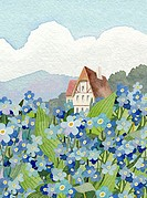 Forget-Me-Not Cottage Linda Braucht (20th C./American) Watercolor