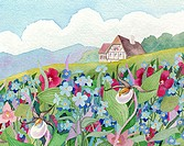 Wildflower Cottage Linda Braucht (20th C./American) Watercolor