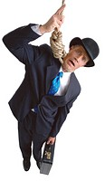 high angle view of a businessmen hung by a noose