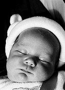 Close-up of a baby (6-12 months) sleeping (black and white)