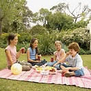 Four children having picnic in garden (8-12)