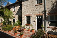 Pleasant Mediterranean courtyard-type setting, historic accommodation at the old Port Mill in Fremantle, Perth, Western AUSTRALIA, Australia
