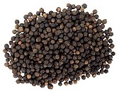 close-up of black peppercorns