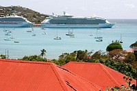 99 Steps, red roof, cruise ships, Caribbean Sea. View. Blackbeard's Hill. Charlotte Amalie Harbor. St. Thomas. US Virgin Islands