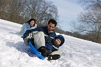 Family sledding.