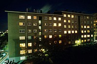 Luminous windows of an apartment building