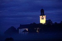 An illuminated tower