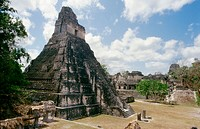 Temple of the Great Jaguar (Temple I). Mayan ruins of Tikal. Peten region, Guatemala