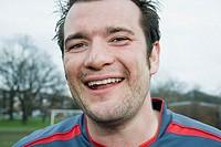 Smiling footballer