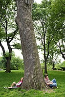 Teenagers sitting against a tree