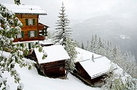 Winter scene in Murren in the Berner Oberland region of Switzerland