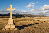 Stone cross near  Laguna de Gallocanta. Aragon. Spain