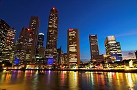 Singapore, office buildings by the River after sunset