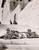 ´Coldstream Guards on walls of Old City with rifles and Lewis guns´. The British Mandate for Palestine, created after the First World War and approved...