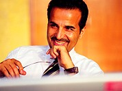 Arab businessman smiling