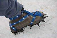 Close-Up of Ice Climbing Shoe