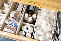 Drawer of medical supplies