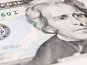 Close up of twenty dollar note