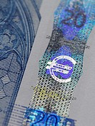 Close up of euro sign on banknote