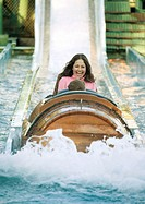 Girl riding log flume