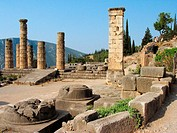Apollon Temple, holy district, Delphi, Fokis, Greece.