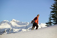 Snowboarder Walking Up Hill