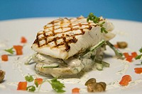 Halibut with asparagus, carrots, potatoes and dill cream sauce