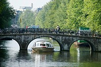 Bicycles and bridge. Amsterdam. Netherlands