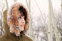 Woman in Woods with Fur Hood