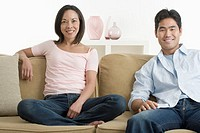 Cheerful Couple on Couch