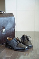 Briefcase and dress shoes on hardwood floor