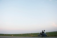 Couple on a motorcycle journey