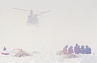 A helicopter rescue of mountaineers on the West Buttress route on Denali, AK.