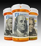 US paper currency on prescription bottle labels (Digital Composite)