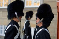 Changing of the guard. Amalienborg Palace. Copenhagen. Denmark.