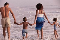 Rear view of parents and their two children walking on the beach