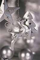 Close-up of a Christmas star and a Reindeer