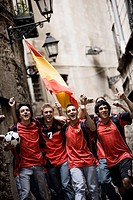 Soccer Fans Cheering in Street