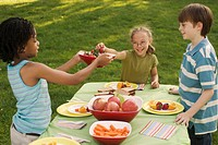 Children (8-10) around table with fruits