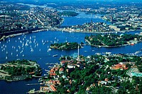 Overview of Stockholm with sailboats from above Djurgarden