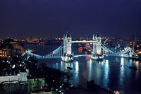 Tower Bridge over River Thames at night from above