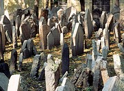 Old Jewish Cemetary in Prague Czech Republic